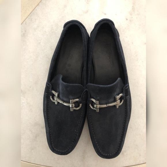 Salvatore Ferragamo Blue Suede Loafers